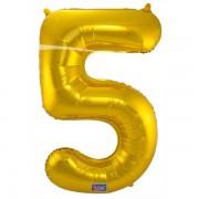 5. szám, fólia lufi, 86 cm, arany