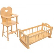 HL Set of Dolls Wooden Rocking Cradle Cot Bed and Matching Doll's Feeding High Chair Toy