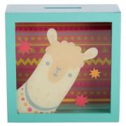 Geen Groene raam spaarpot met alpaca/lama 18 cm