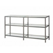 3 tier nickel finish metal frame and glass shelves book case