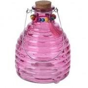 Merkloos Glazen wespenvanger roze 18 cm