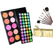 Beauty Of Life 50 shades Eyeshadow and Blush palette and 7 pieces makeup brush set with golden carrying pouch