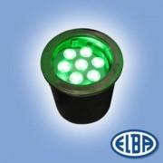 Fényvető IMPACT 01 LED 21x1W zöld led, padlóba süllyeszthető, 1 kábelbevezető IP67 Elba