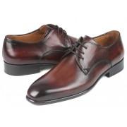 Paul Parkman Burnished Calfskin Plain Toe Derby Shoes Antique Brown 696AT51