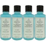 Khadi Pure Herbal Green Tea Mint Body Wash Paraben Free - 210ml (Set of 4)