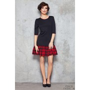 Navy Blue Drop Waist Dress with Checkered Red Panel