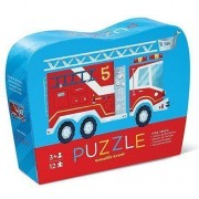 Puzzle Maşina de Pompieri în Cutie cu Formă Originală