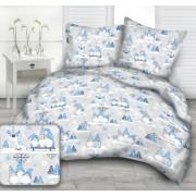 Kék - fehér manós 100% pamut 140x200 cm 3 részes ágynemű huzat szett