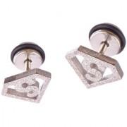 316L Stainless Steel Satin Superman Screw Back Stud Earrings for Men/Women 2pcs