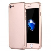 2 in 1 for iPhone 7 360 Degrees Full Coverage Protection Hard PC Protective Case + Tempered Glass Screen Film(Gold)