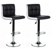 Hjh Lotto di 2 sgabelli LOUNGE, sedile imbottito, in similpelle colore nero