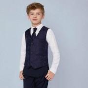 River Island Boys Navy paisley waistcoat and shirt set