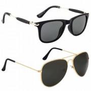 Debonair UV Protected Black Aviator Wayfarer Sunglasses For Boys Girls Pack of 2