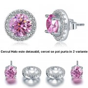 Cercei Borealy Argint Diamonds Halo One & Two Pink