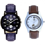 Cronograph Blue Leather Strap And Brown Peacock Feathers Girls Analogue Watch By Ganesha Exim