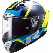 LS2 FF805 Thunder Racing1 Carbon Hjälm L Blå Gul