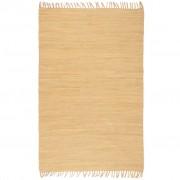 vidaXL Ръчно тъкан Chindi килим, 80x160 см, бежов