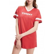 Tommy Hilfiger rosso largo abito VN Dress SS con logo - S