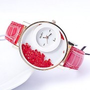 Ansh Max-Re Round Dial Red Leather Strap Analog Watch for women