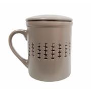 Cana cu infuzor si capac ceramica si inox 320 ML Gri