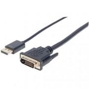 Manhattan Cavo DisplayPort 1.2a a DVI-D 24+1 Maschio 3m Nero