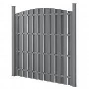 [neu.holz]® Kerítés WPC kerítéselem félköríves kerítéspanel 185 x 193 cm szürke