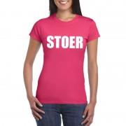 Bellatio Decorations Stoer tekst t-shirt roze dames L - Feestshirts