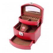 Cutie Bijuterii Intense Red piele naturala By Friedrich Made in Germany - personalizabil