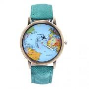 Rrimin Women Dress Watches Fashion Mapamundi of Air Travel Denim Fabric Watch (Green)