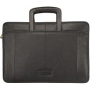 Justanned Slim Zip Top Leather Briefcase Black Messenger Bag