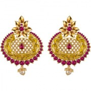 Spargz Antique Gold Plated Purple AD Stone Long Indian Style Enamel Work Chandbali Earrings For Women AIER 1348