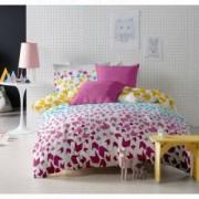 Lenjerie de pat Dormisete bumbac 100 Loving Matisse Rose pentru pat 2 persoane 4 piese 180x215 / 50x70 cearceaf pat uni roz Rosebloom
