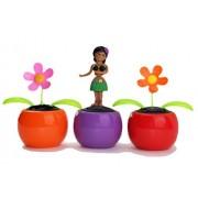 We pay your sales tax Set of 3 Hawaiian Aloha Dancing Hula Girl Solar in Black Top & Green Skirt (random color base: yellow / purple) and 2 Daisy Flower Solar Toys (random colors)