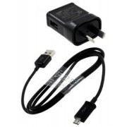 Genuine Samsung 3-in-1 Micro USB Sync Cable - Samsung AC Wall Charger (Black)