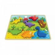 Puzzle Chunky Dinozaur Jumini, lemn, 30 x 21 x 2 cm, 7 piese, 1 an+, Multicolor