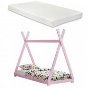 """[en.casa] Dětská postel """"Teepee"""" AAKB-8681M 90x200 cm růžová"""