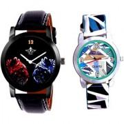 Black Dial 2 Jaguar And Multi Sky Blue Art Couple Analogue Watch By Ganesha Exim