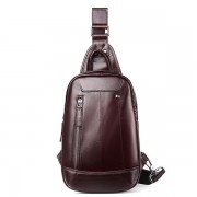 Men Genuine Leather Minimalist Retro Chest Bag Casual Travel Business Crossbody Bag