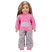 Doll Clothing Set for American Girl And Other 18 Inch Dolls - 2 Piece Pajama Outfit - Pink Velour Top with Matching Gray Pants - Fashion Doll Clothes by Modoll