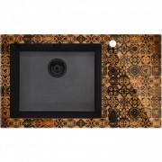 CAPELLA PRECIOUS BRONZ Üveg-gránit mosogató, 1 medence + csepegtető, metál fekete - Fózolt, 86 x 50 cm