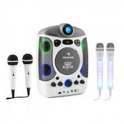 Kara Projectura weiß + Dazzl Mic Set Karaokeanlage Mikrofon LED-Beleuchtung