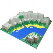 Parts/Elements - BasePlates Lego Parts: Islanders - Baseplate Raised 32 x 32 Canyon with Blue and Yellow Stream Pattern