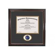 Signature Announcements Elizabeth-City-State-University Marco de Diploma de graduación con Sello de Aluminio esculpido Profesional/Doctor, 16 x 16 Pulgadas, Color Dorado Brillante Caoba