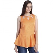 INSPIRE WORLD Women's 100 Pure Cotton Linen Satin Peplum Top In Orange Color With Skin Friendly Lining And Crystal Neck Line (IWT0032016S)