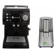 Pachet Espressor cu pompa Aroma SC422 Black Studio Casa 15 bari 1.5l 1050w Negru+ Rasnita Del Caffe Grind Master 220W 60g Bonus Cafea boabe Kaidi 500