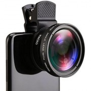 Techvik Universal Black 0.45X Super Wide Angle Macro Lens Clip On Professional Mobilephone camera Lens for Smartphones