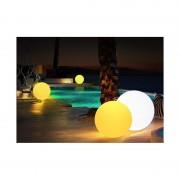Barcelona LED Boule lumineuse LED RGBW 30cm en résine blanche 5W IP65 sans fil - Mobilier lumineux