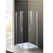 Box doccia semicircolare a due battenti 8000 da 80 cm cristallo 6 mm Bianco Trasparente