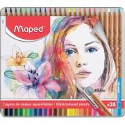 Creioane colorate Color Peps Aqua Artist cutie metal 24 culori/set + pensula Maped