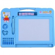 Double Sided Magnetic Slate Whiteboard and Blackboard with Chalk Duster and Stylus for Boys and Girls. Comes in Multi Co